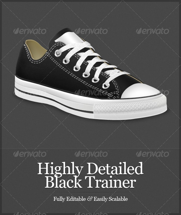 Highly Detailed Black Trainer - Objects Illustrations