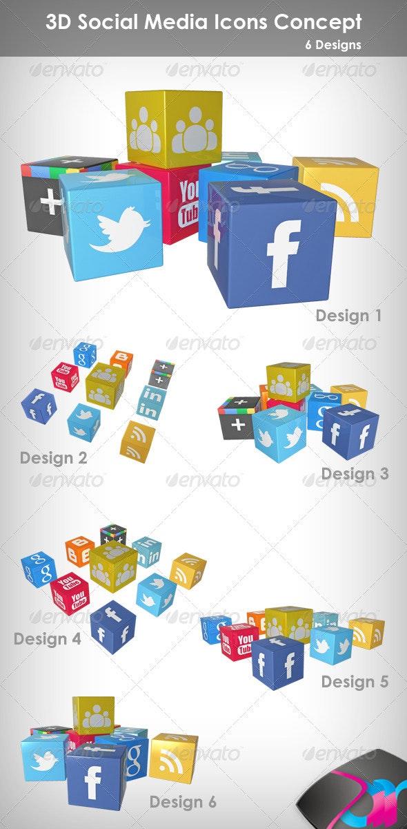 3D Social Media Icons Concept - Miscellaneous 3D Renders