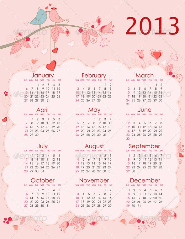 Calendar for 2013 - Miscellaneous Vectors