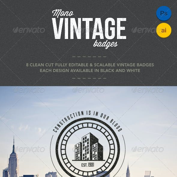 8 Mono Vintage Badges
