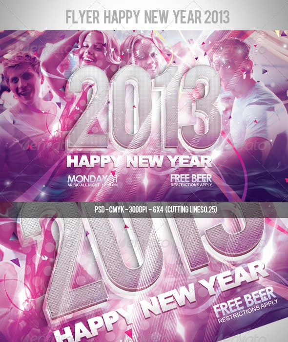 Flyer Happy New Year 2013 - Clubs & Parties Events