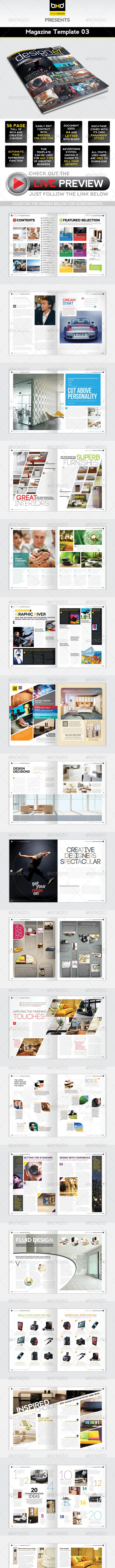 Magazine Template - InDesign 56 Page Layout V3 - Magazines Print Templates