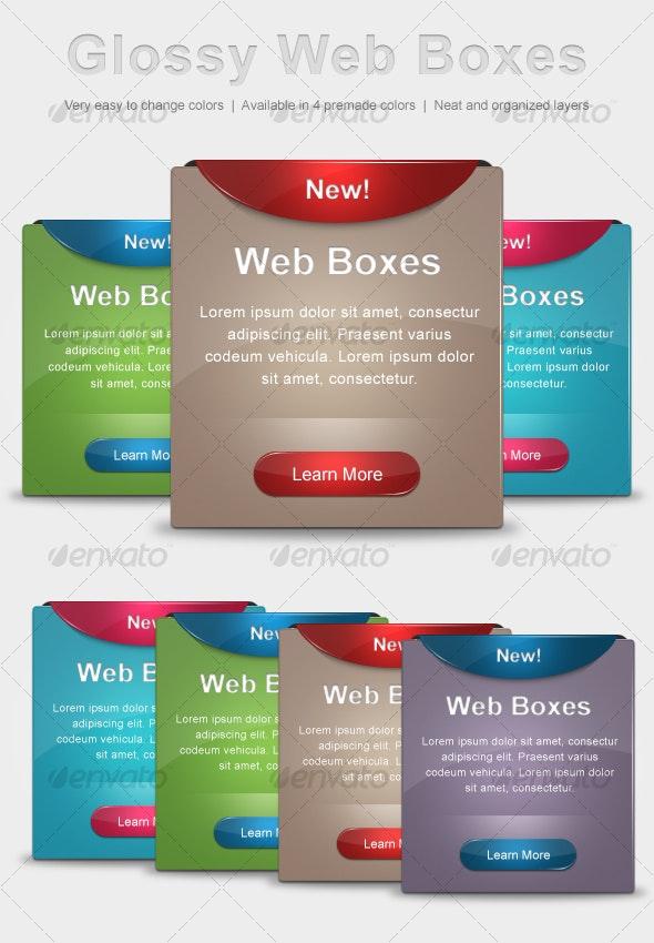 Glossy Web Boxes - Web Elements