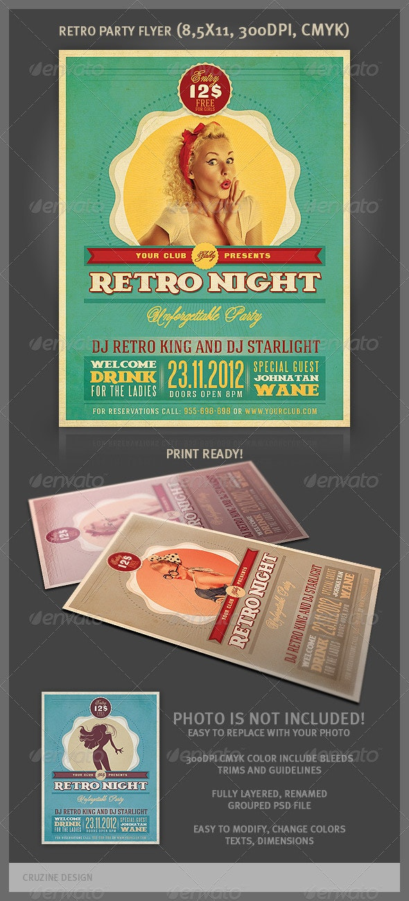 Retro Party Flyer Template - Events Flyers