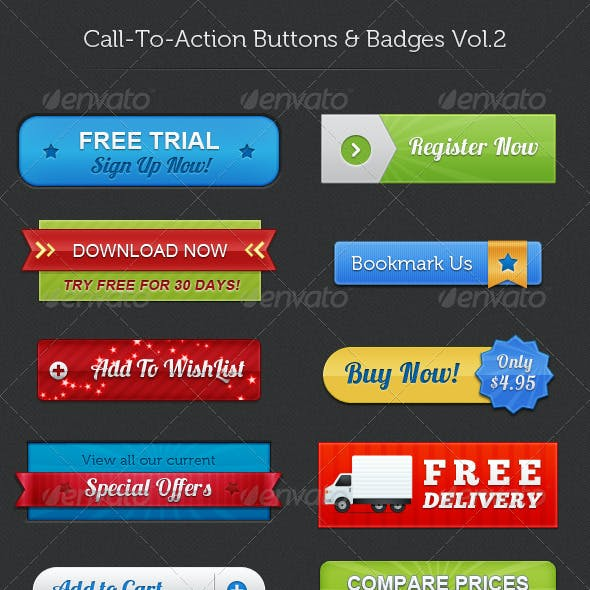 Call To Action Buttons & Badges Vol.2