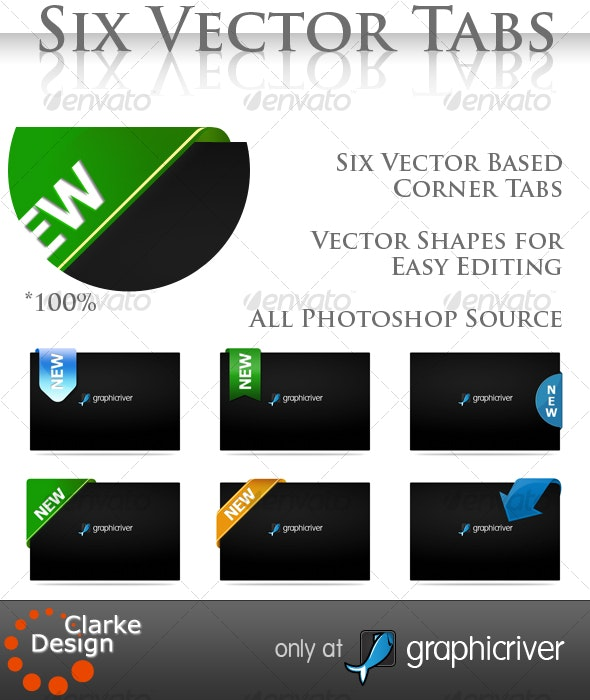 Six Vector Corner Tabs - Miscellaneous Web Elements