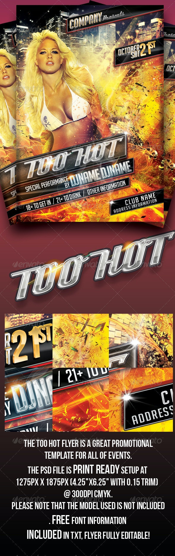Too Hot Flyer - Clubs & Parties Events