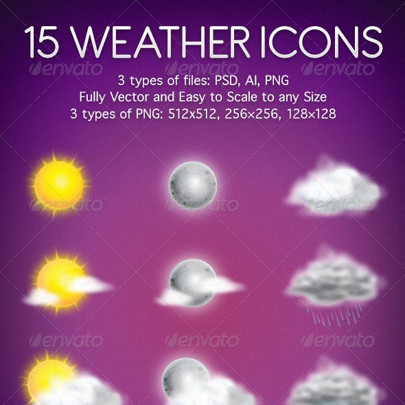 15 Weather Icons in Vector and Raster formats.