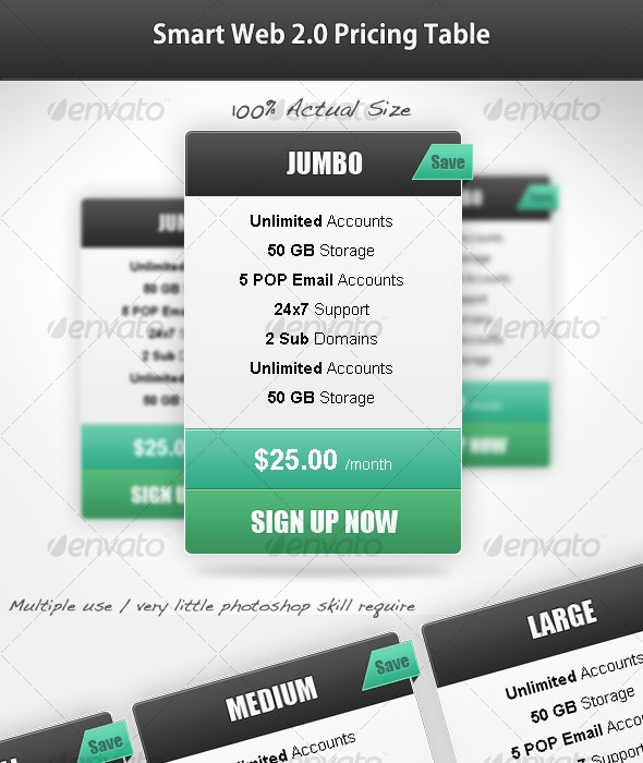 Smart Web 2.0 Pricing Table - Web Elements