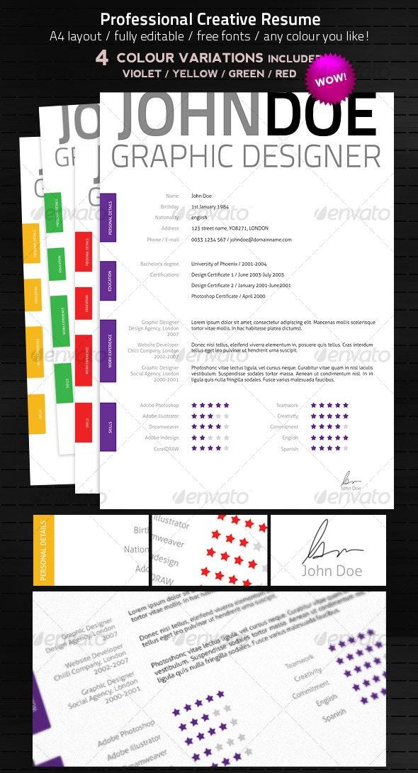 Creative & Elegant Resume - Resumes Stationery