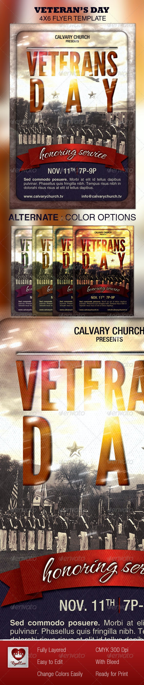 Veterans Day Church Flyer - Church Flyers