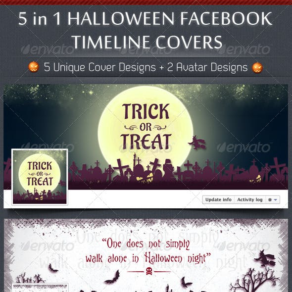 5 in 1 Halloween FB Timeline Covers