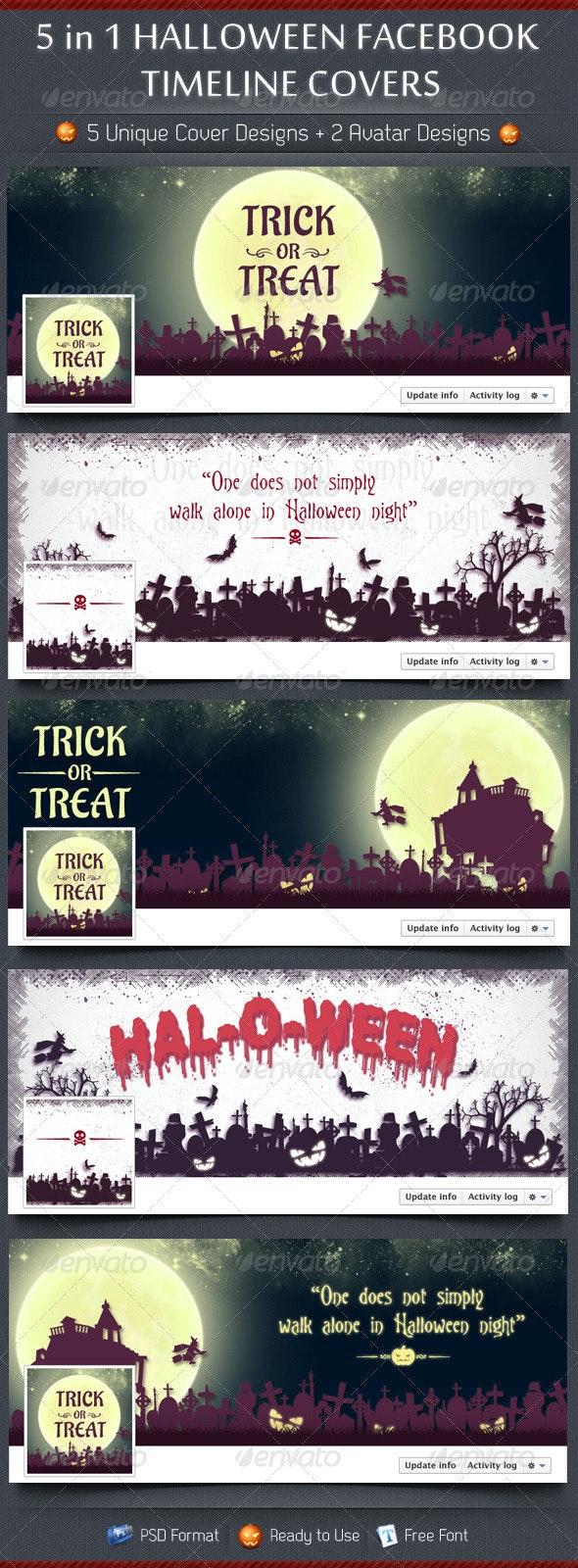 5 in 1 Halloween FB Timeline Covers - Facebook Timeline Covers Social Media