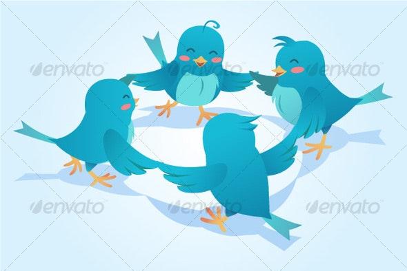 Twiiter flock - Characters Vectors