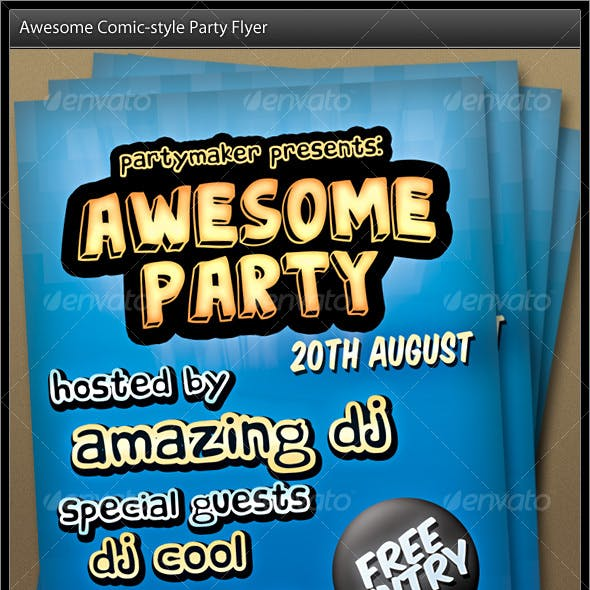 Comic Styled Party Flyer