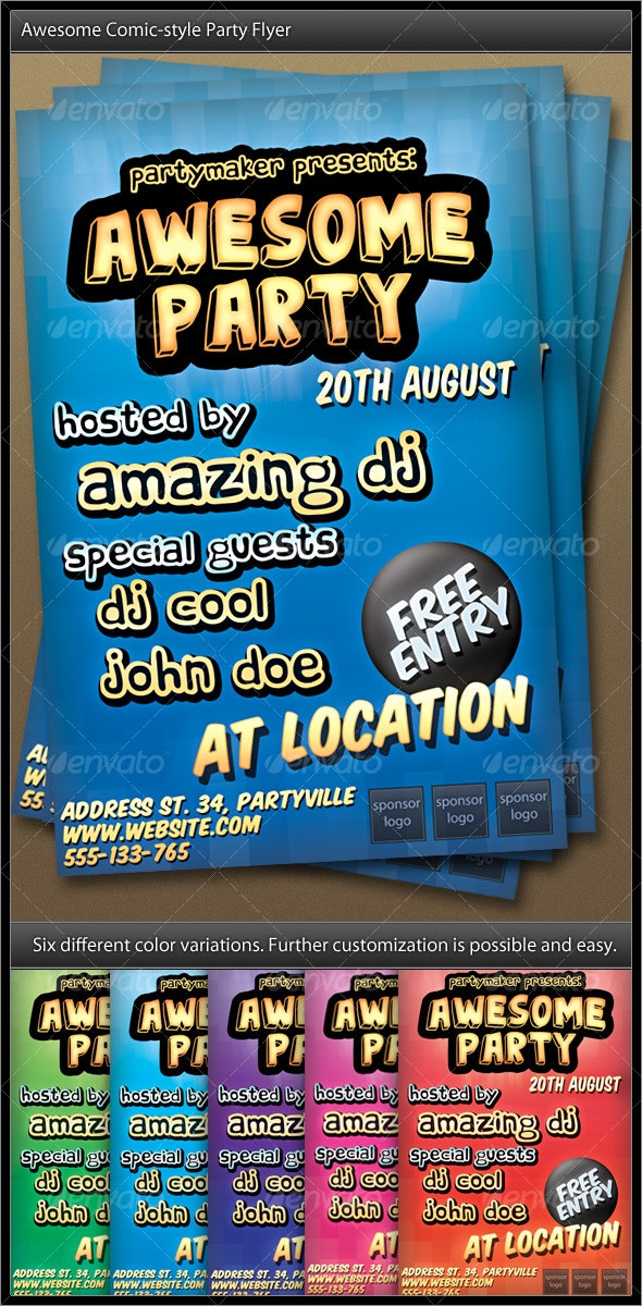 Comic Styled Party Flyer - Clubs & Parties Events