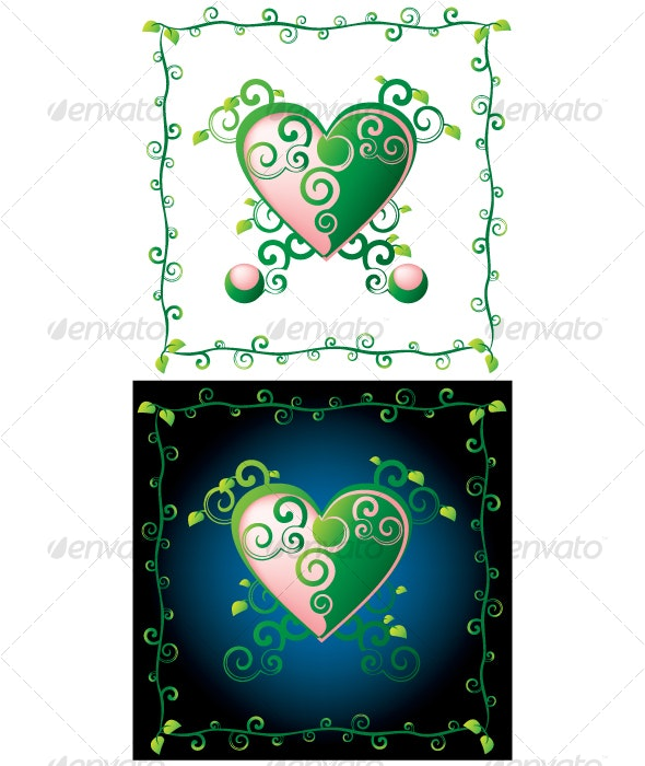green heart - Decorative Vectors