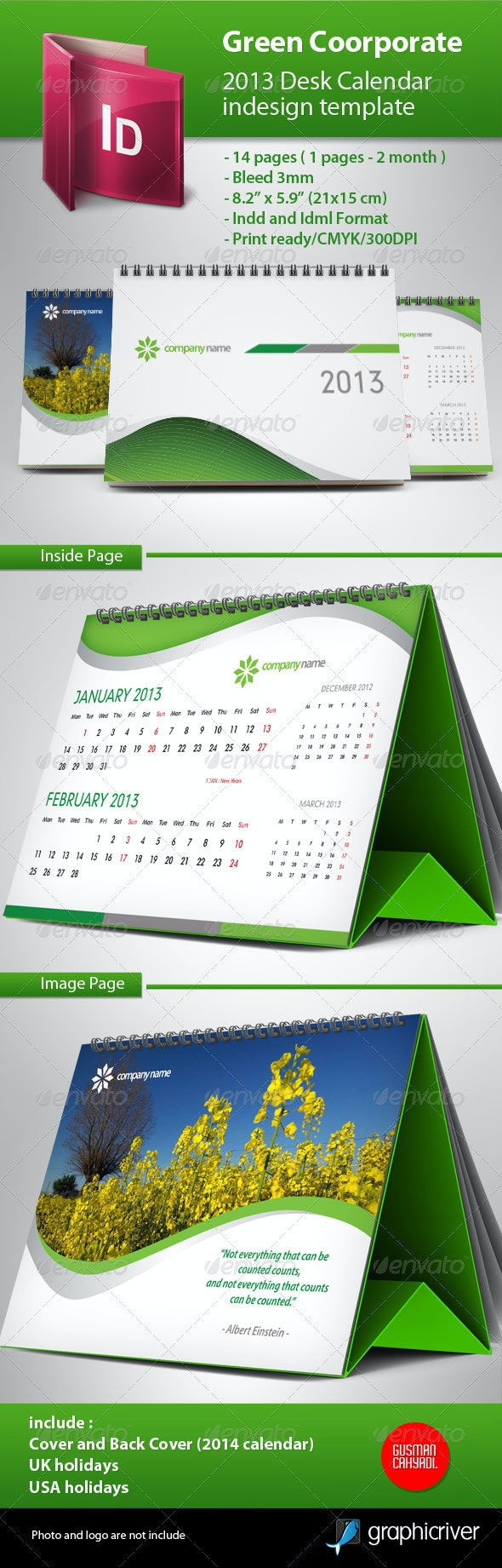 Calendar 2013 Green Template - Calendars Stationery