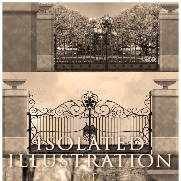 Forged Garden Gate On Stone Pillars