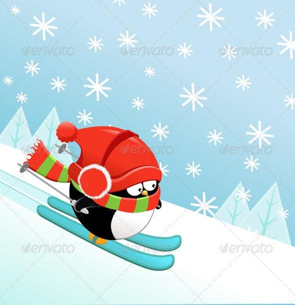 Skiing Penguin - Animals Characters