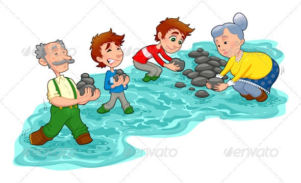 Family is Making a Little Dam with Stones   - People Characters