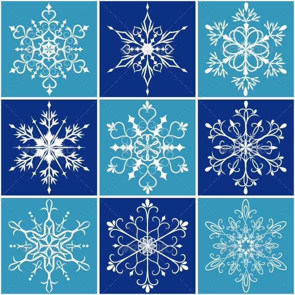 Set of Christmas Snowflakes - Decorative Symbols Decorative