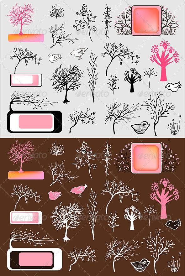 Vector Tree Set - Flowers & Plants Nature