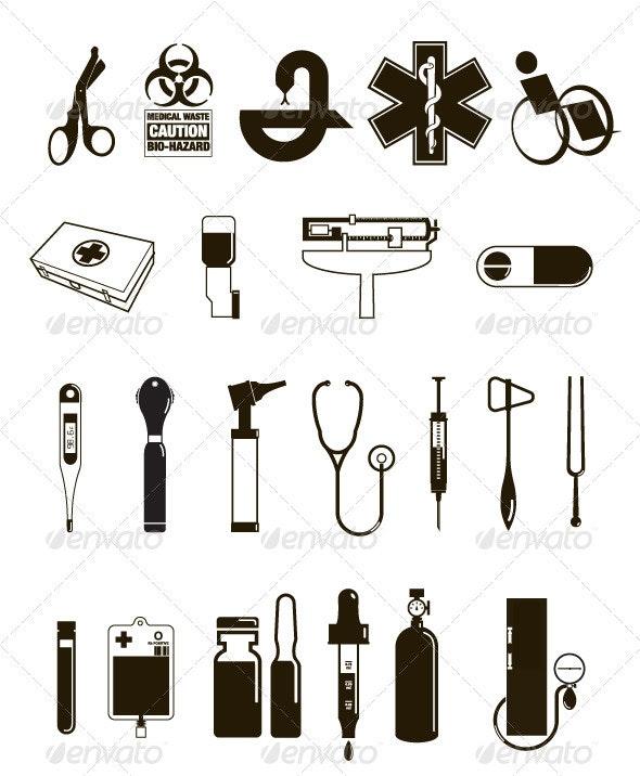 Medical Office Icons and Symbols - Health/Medicine Conceptual