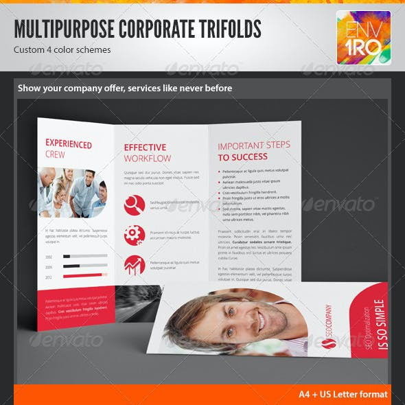 Clean Multipurpose Corporate Trifold Templates
