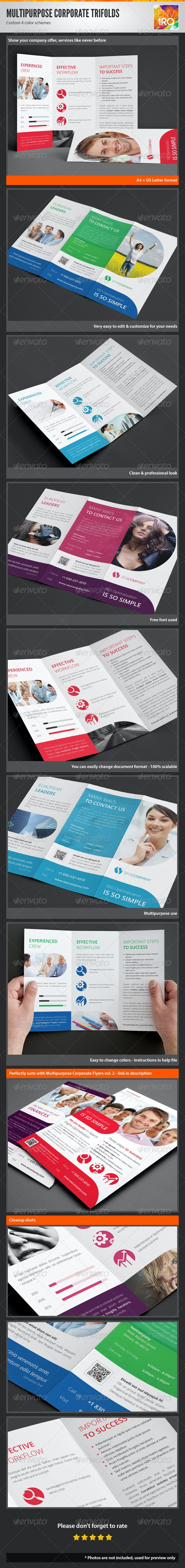 Clean Multipurpose Corporate Trifold Templates - Corporate Brochures