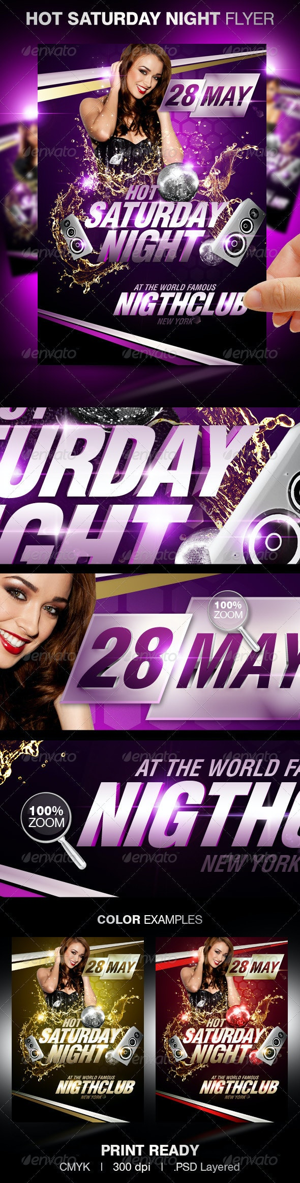 Hot Saturday Night Party Flyer - Clubs & Parties Events