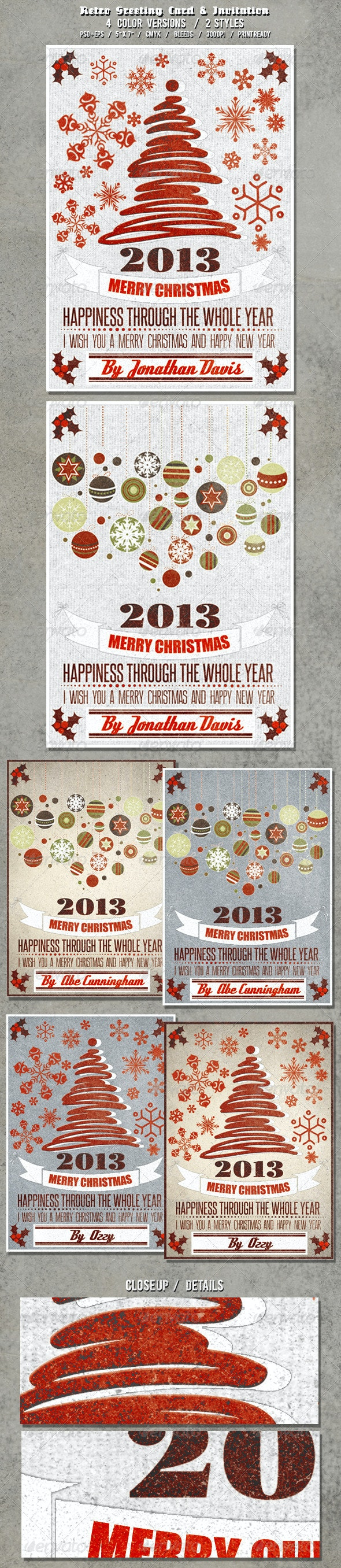 Vintage Christmas Card - Cards & Invites Print Templates