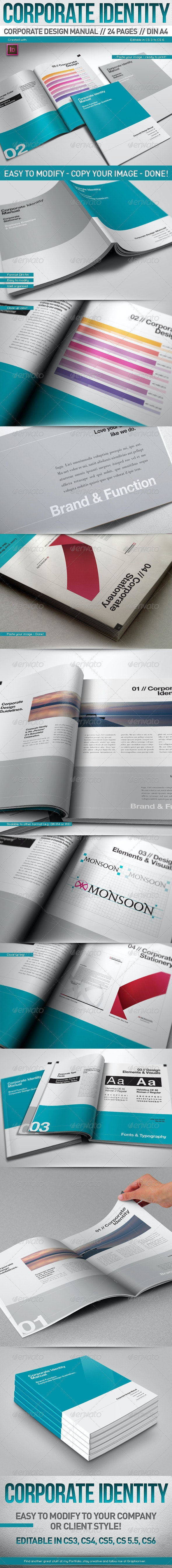 Corporate Design Manual Guide DIN A4 // 24 Pages - Corporate Brochures