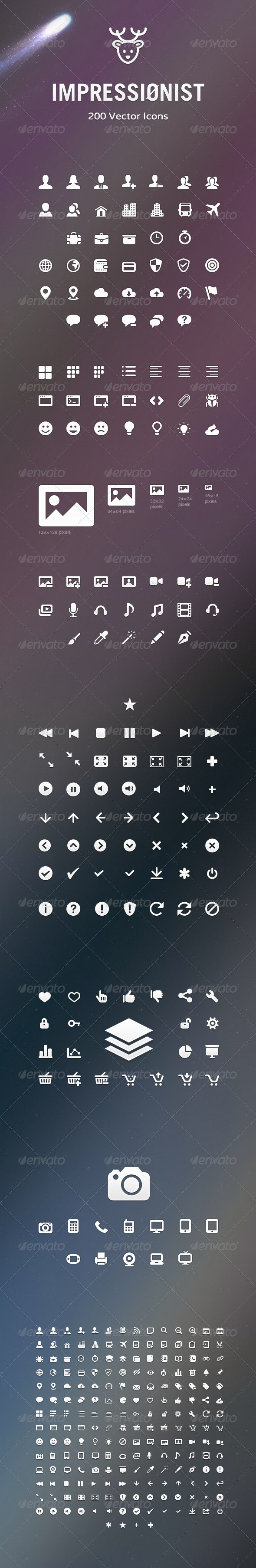 Impressionist Icons – Vector Icons Pack - Web Icons