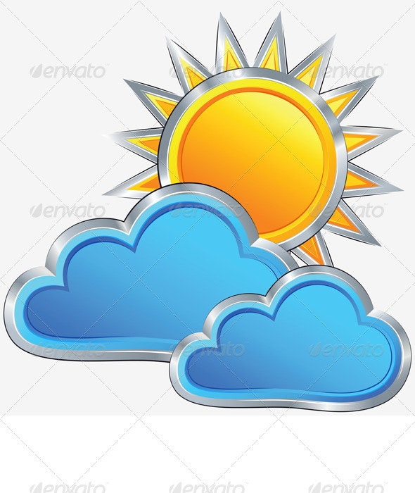 Vector Weather Icon with a Sunny Weather - Seasons Nature