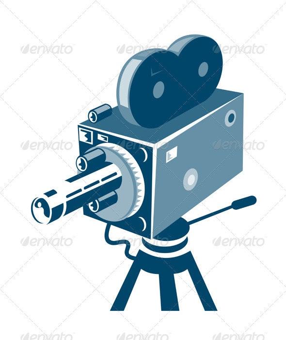 Vintage Video Movie Camera Retro - Objects Vectors