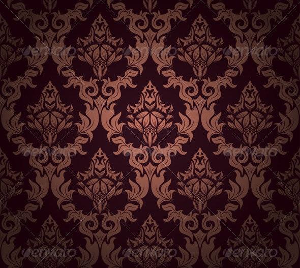 Damask Seamless Pattern - Flourishes / Swirls Decorative
