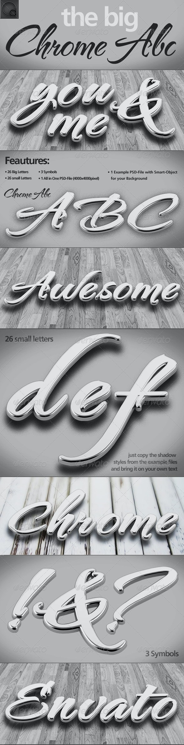 Silver/Chrome Letters Pack - Text 3D Renders