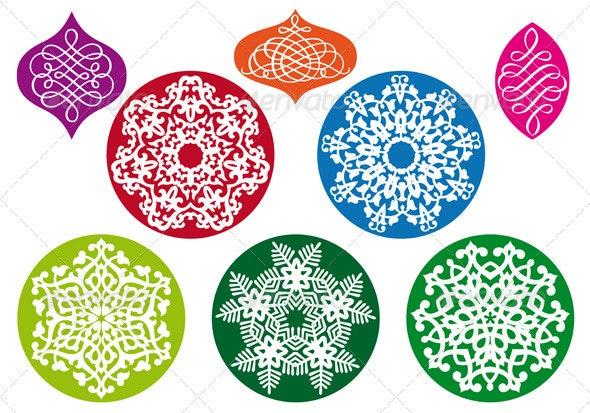 Christmas Balls With Snowflake Pattern, Vector  - Christmas Seasons/Holidays