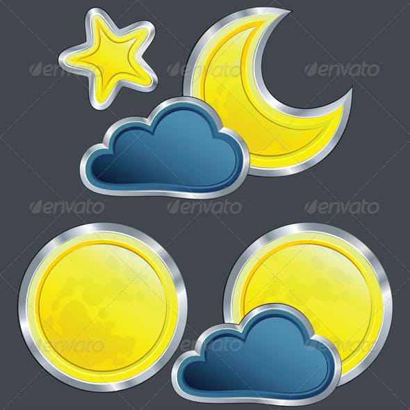 Vector Icons of the Weather Night with Moon