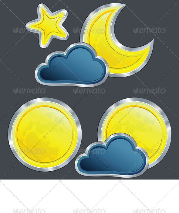 Vector Icons of the Weather Night with Moon - Seasons Nature