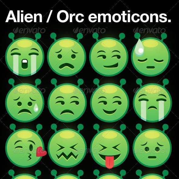 alien / orc smiley emoticons
