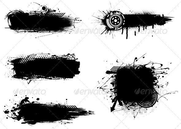 Grunge Banners - Decorative Symbols Decorative