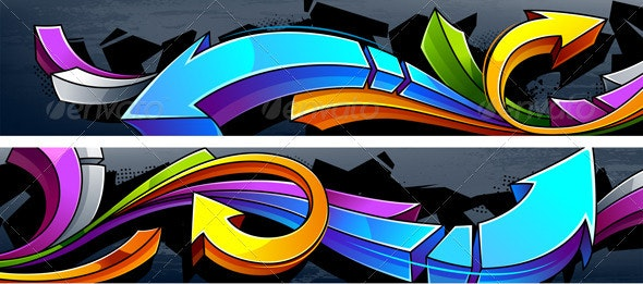 Two horizontal graffiti banners - Backgrounds Decorative