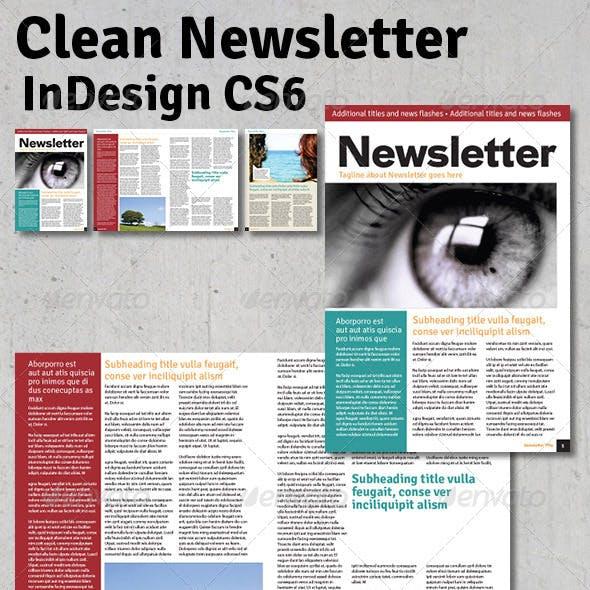 Clean Newsletter - InDesign
