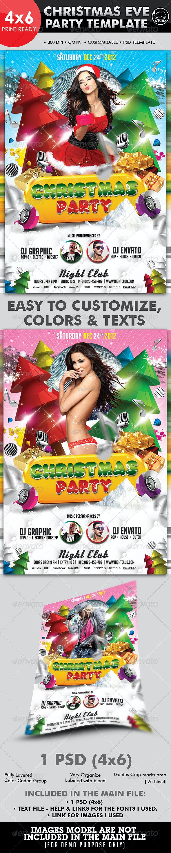 Christmas Eve Party Flyer Template - Holidays Events