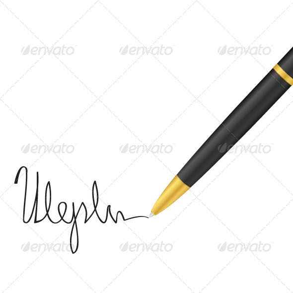 Ballpoint pen and signature