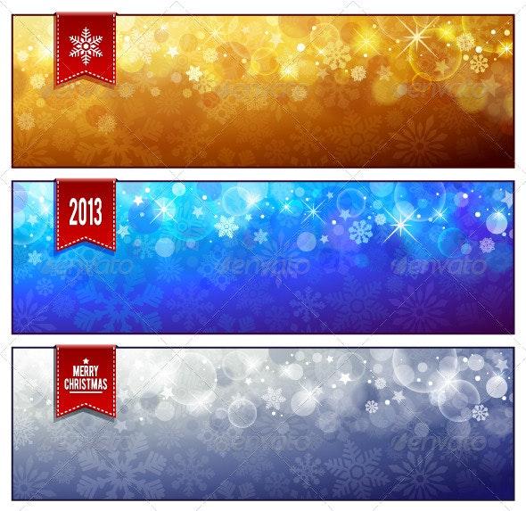 Set of horizontal luminous Christmas banners - Christmas Seasons/Holidays