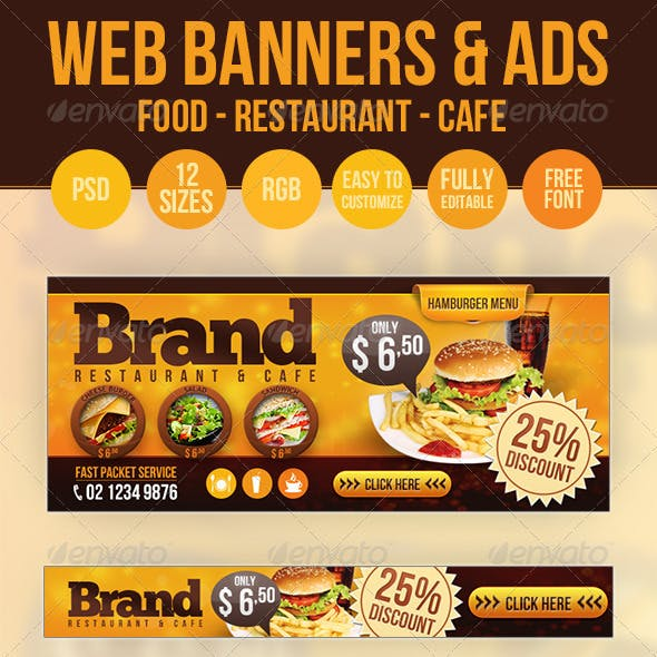 Food Web Banners & Advertise - PSD Templates