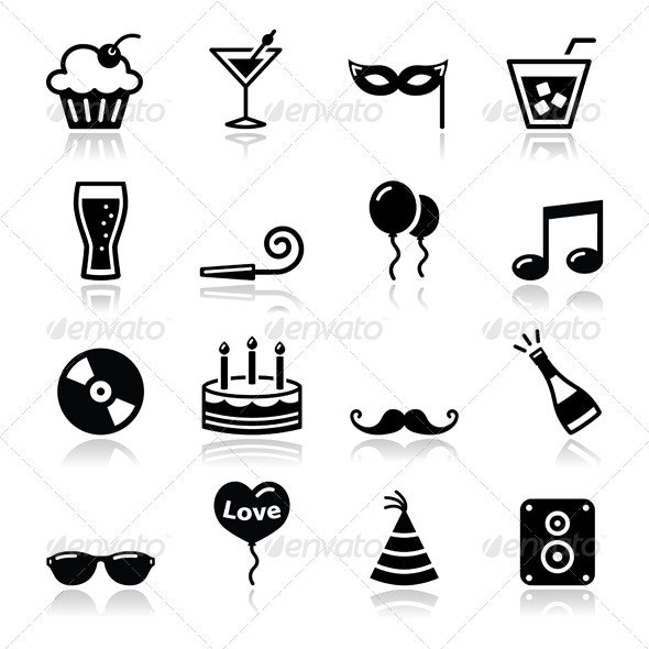 Party icons set - birthday, New Year's, Christmas - New Year Seasons/Holidays
